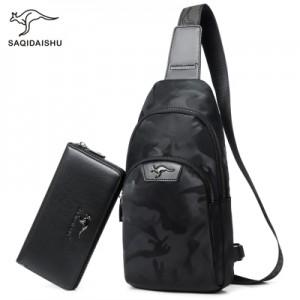 Набор сумка мужская + кошелек арт МК42 черный камуфляж