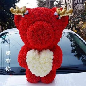 """Мишка из роз арт.МР101,цвет: Красный """"Вечное Сердце"""" (40 см)"""