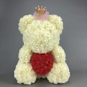 """Мишка из роз арт.МР103,цвет: Белый """"Твое Сердце"""" (40 см)"""