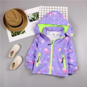 Детская куртка арт.КД075,цвет: Фиолетовый, свинка Пеппа