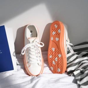 Женские кеды арт.ОЖ411,цвет: Белый+оранжевый