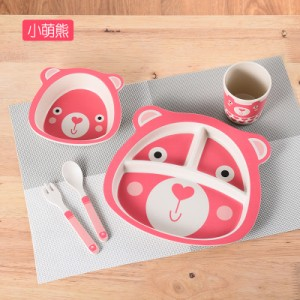 Набор детской посуды из 5 предметов арт. НД5,цвет: Розовый милый медвежонок