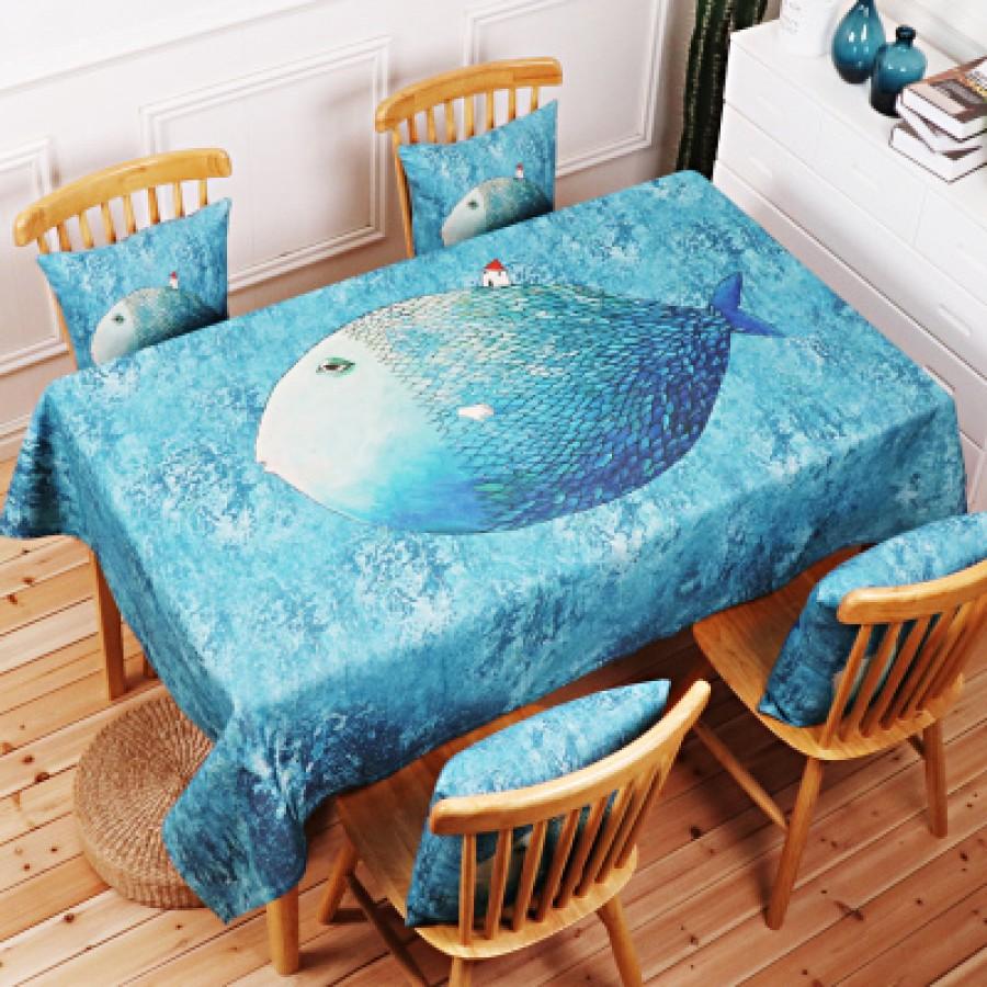 Скатерть хлопчатобумажная арт.СК01,цвет: Зеленая морская рыба
