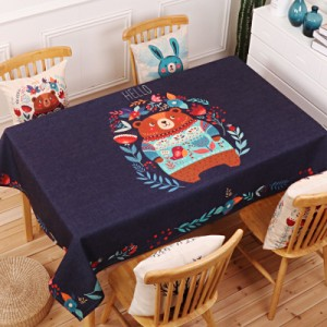 Скатерть хлопчатобумажная арт.СК01,цвет: Королевский Синий медведь