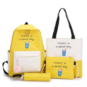 Комплект рюкзак из 4 предметов, арт Р532, цвет:желтый
