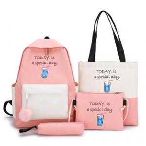 Комплект рюкзак из 4 предметов, арт Р532, цвет:розовый