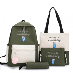 Комплект рюкзак из 4 предметов, арт Р532, цвет:зеленый