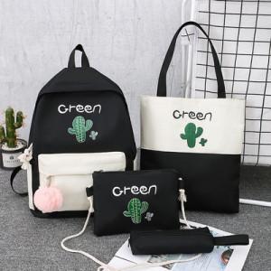 Комплект рюкзак из 4 предметов, арт Р531, цвет:кактус черный