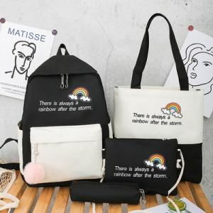 Комплект рюкзак из 4 предметов, арт Р530, цвет:радуга черный