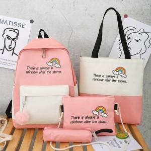 Комплект рюкзак из 4 предметов, арт Р530, цвет:радуга розовый