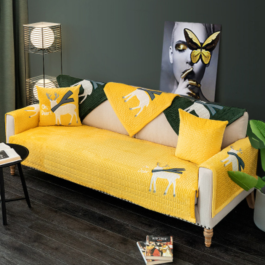 Дивандек арт ДК10 цвет: вышивка олень желтый