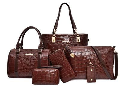 Комплект сумок из 6 предметов арт А416,цвет:коричневый