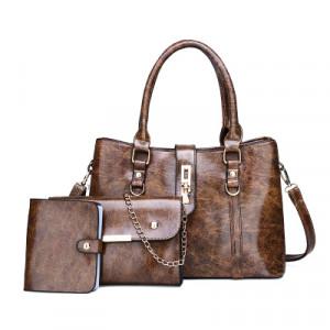 Комплект сумок из 3 предметов арт А417,цвет:коричневый