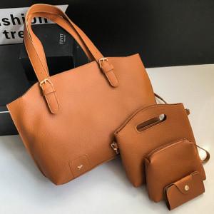 Комплект сумок из 4 предметов арт А418,цвет:коричневый