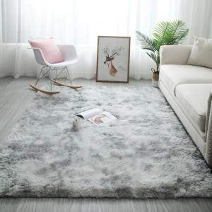 Меховые ковры арт КВ37, градиент, цвет: серый