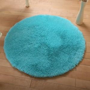 Меховые ковры КРУГЛЫЕ арт КВ40 толщина 4 см, цвет:небесно-голубой