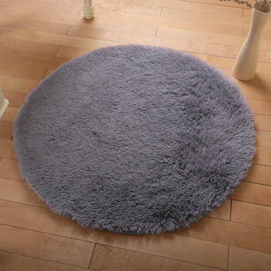 Меховые ковры КРУГЛЫЕ арт КВ40 толщина 4 см, цвет: серебро