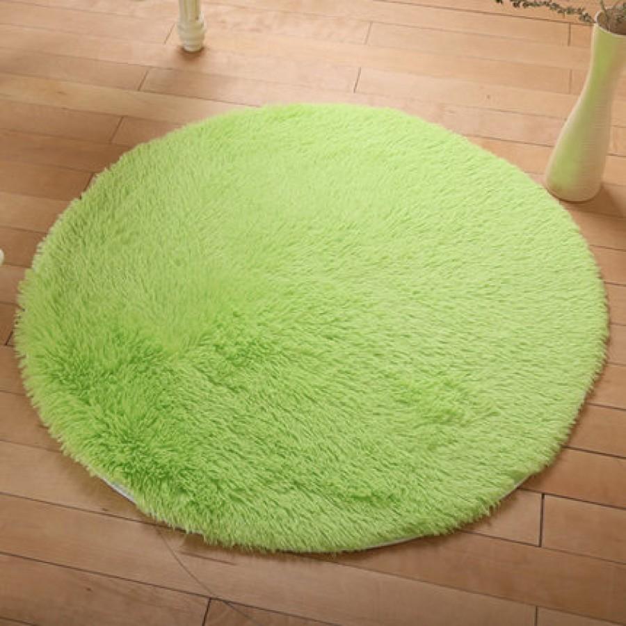 Меховые ковры КРУГЛЫЕ арт КВ40 толщина 4 см, цвет: фруктовый зеленый