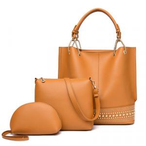 Комплект сумок из 3 предметов арт А408,цвет:коричневый