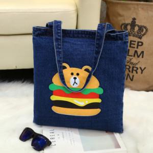 Сумка женская арт Б811, цвет:темно-синий  медведь Бургер