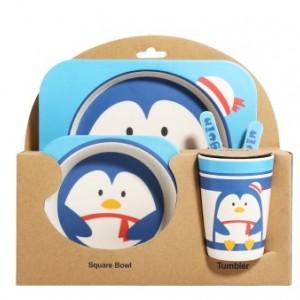 Набор детской посуды из 5 предметов арт НД3, цвет: Пингвинчик