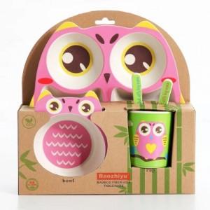 Набор детской посуды из 5 предметов арт НД4, цвет:Сова розовая