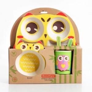 Набор детской посуды из 5 предметов арт НД4, цвет:Сова желтая