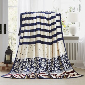 Плед арт ВЛ6 цвет:синий и белый фарфор